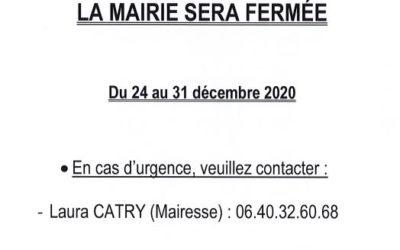 Fermeture de la mairie du 24 au 31 décembre 2020