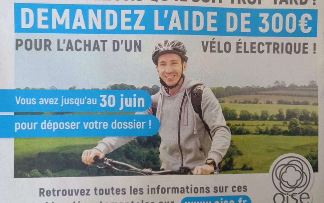 Le saviez-vous : le département nous encourage à nous équiper en vélo électrique – date limite 30 juin 2021.