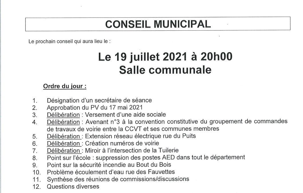 Conseil municipal du 19 juillet 2021